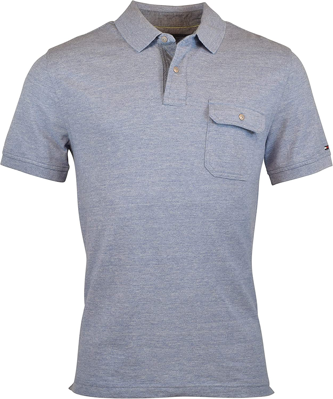 Tommy Hilfiger Mens Polo Shirt Custom Fit Interlock Top Pocket Flag Logo Casual