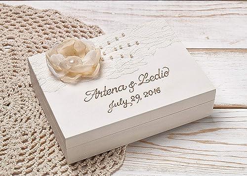 Rustic Shabby Chic Beach Wedding Decor Ring Bearer Pillow Box Wedding Ring Box Customized Hearts White Ring Pillow Holder