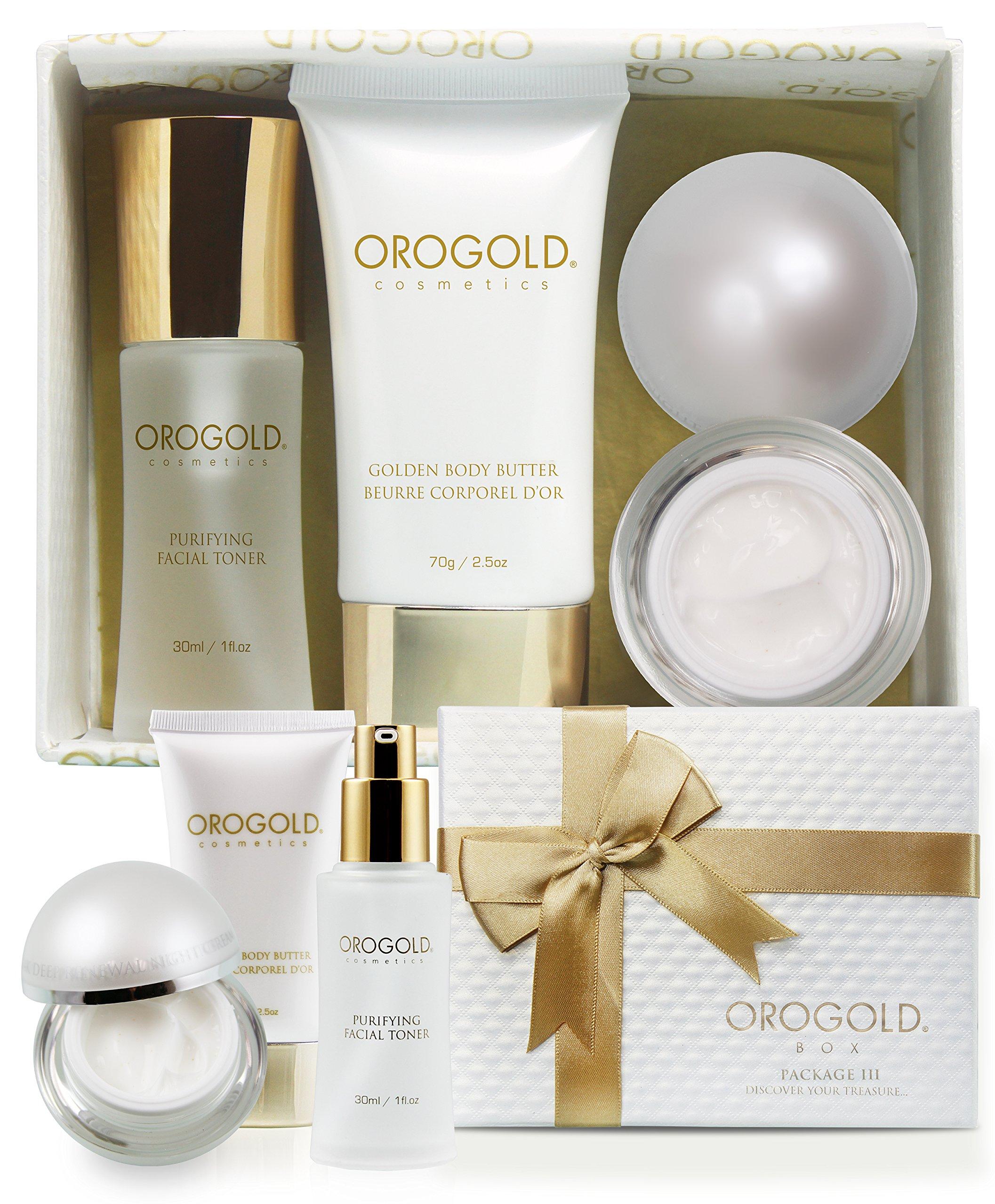 ویکالا · خرید  اصل اورجینال · خرید از آمازون · 24K Luxury Gift Set for Women | Authentic Gold Travel Skin Care Set From Orogold |24K Facial Toner | Gold Flecked Night Cream For Tired Skin | Gilded Body Butter For Smooth Skin| Bashful in Gold! wekala · ویکالا