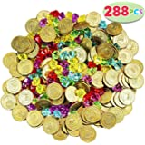 Joyin Toy 288 件装海盗金币和海盗宝石首饰套装派对用品。 (144 枚硬币+144 只宝石)