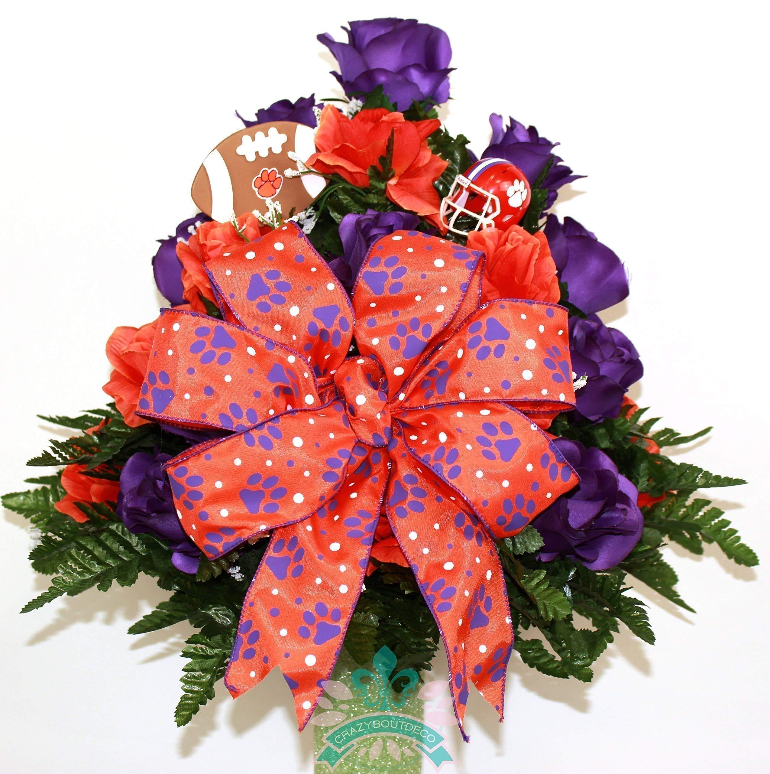 Clemson-Tiger-Fan-Cemetery-Vase-Arrangement-featuring-OrangePurple-Roses