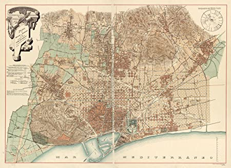 Map 24 Spain.1890 Historical Vintage Map Barcelona Spain Espana Map Reprint 18