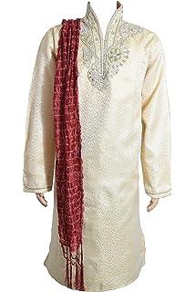 Mens Black Jacquard Silk Kurta Pajama Salwar Kameez Sherwani Indian Outfit GR900