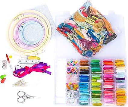 Aida Cloths Beads Embroidery Floss Cross Stitch Friendship Bracelet String Kit Box Set Organizer Extra 100 DMC Threads 508 pcs Set by Endopax Products Hoops