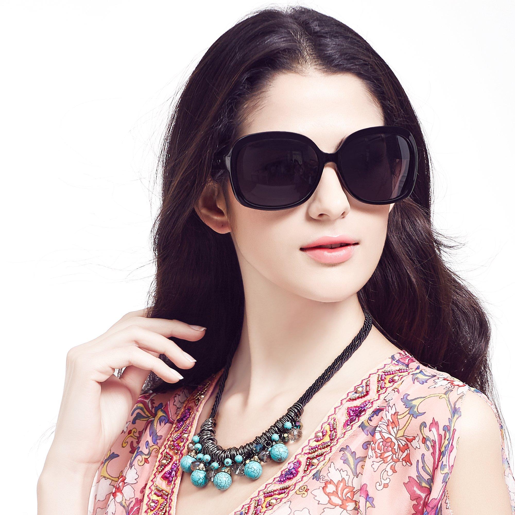 LianSan Oversized Womens Sunglasses Polarized uv Protection Simple Sunglasses LSP301 (polarized black) by LianSan
