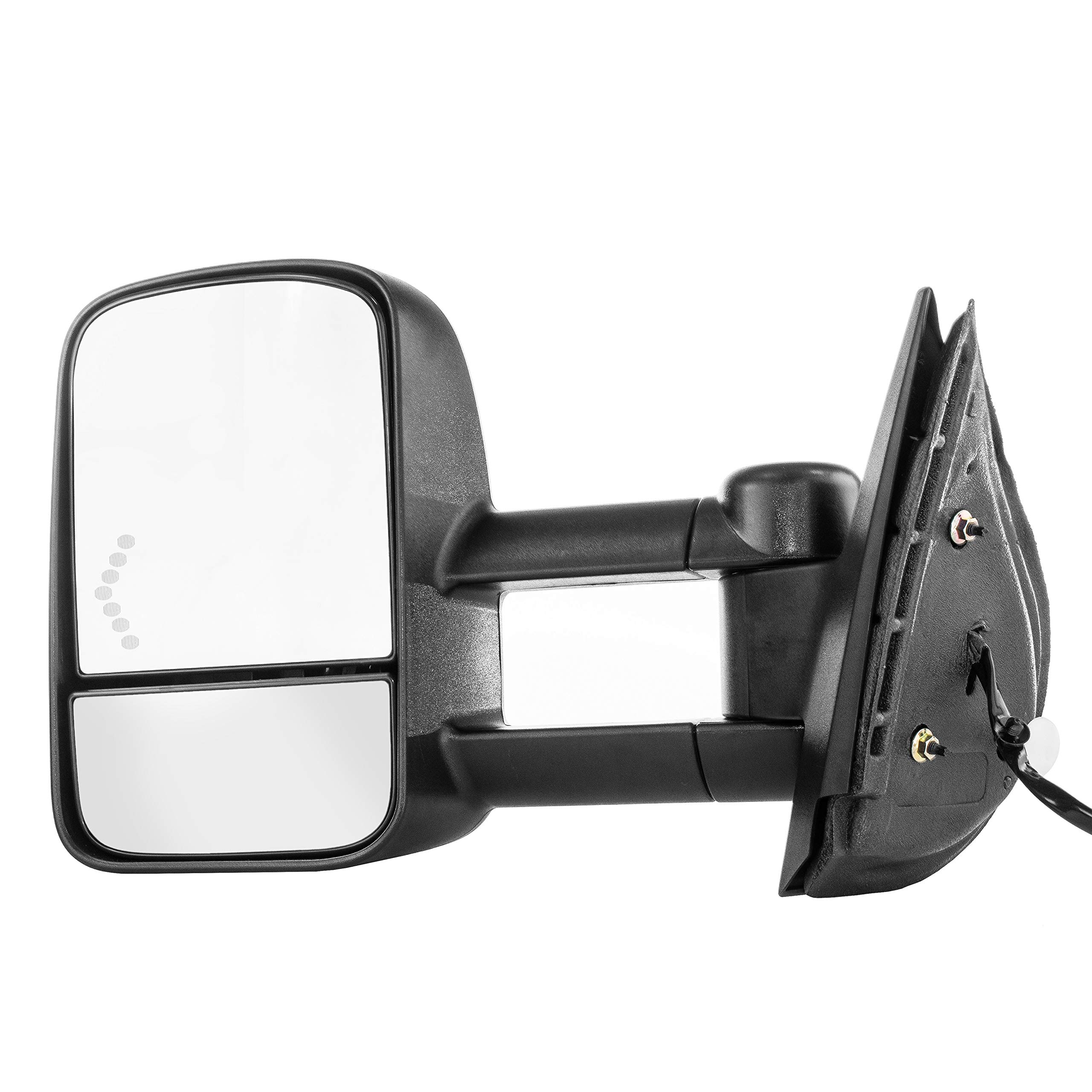 Driver Side Towing Mirror for Chevy Silverado GMC Sierra 1500 2500 3500 HD (2007 2008 2009 2010 2011 2012 2013 2014) Textured Telescopic Non-Heated Folding Left Door Mirror with Signal Light