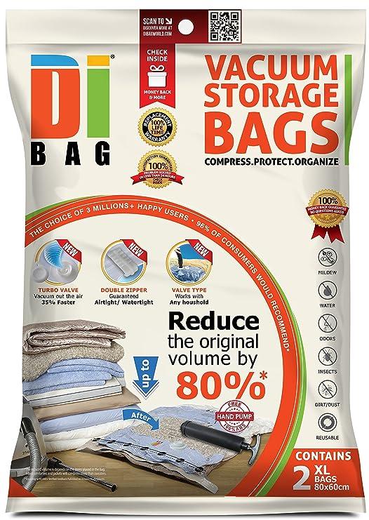 DIBAG - Bolsas de almacenaje al vacío de ropa para ahorrar espacio. 2 extra grande (80x60cm) bolsas ahorradoras de espacio para viaje . Para ropa de ...
