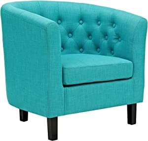 Modway Prospect Upholstered Fabric Contemporary Modern Accent Arm Chair in Pure Water