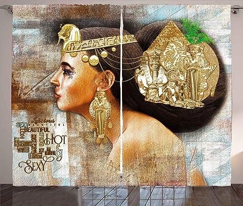 Ambesonne Egyptian Print Curtain