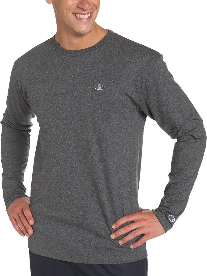 Champion Mens Long-Sleeve Tee T-Shirt Athletics Classic Script Logo Athletic Fit