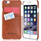 """KAVAJ iPhone 6S/6 Case Cover Leather """"Tokyo"""" Cognac Brown - Genuine Leather Back Cover With Business Card Holder. Slim Fit back Cover As Premium Accessory For Original Apple iPhone Doubles As A Wallet"""