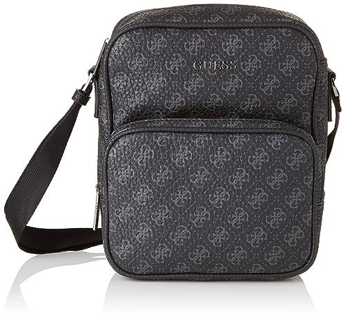 9d9c0393ed Guess City Logo Top Zip Crossbody, Men's Messenger Bag, Black ...
