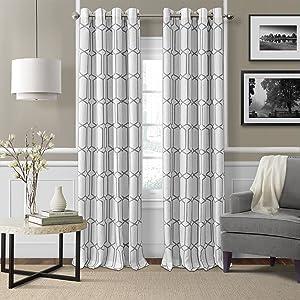 "Elrene Home Fashions Kaiden Geometric Room Darkening Grommet Linen Window Curtain Drape Panel, 52"" W x 84"" L (1, Gray"