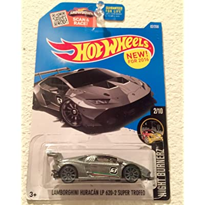 Hot Wheels 2016 Night Burnerz Lamborghini Huracan LP 620-2 Super Trofeo 82/250, Silver: Toys & Games
