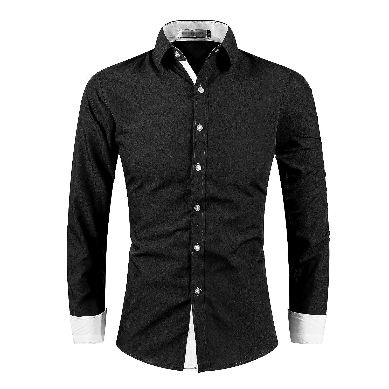 Kuson - Camicia Casual - Basic - Classico - Maniche lunghe - Uomo