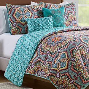 VCNY Home Yara Medallion 5 Piece Reversible Quilt Set, Full Queen, Aqua