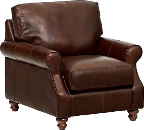Amazon Brand Stone Beam Charles Classic Oversized Leather Chair, 39 W, Walnut