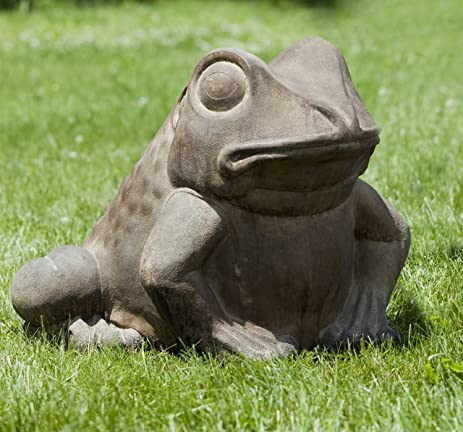 Campania International A 224 GS Giant Garden Frog Statue, Grey Stone Finish