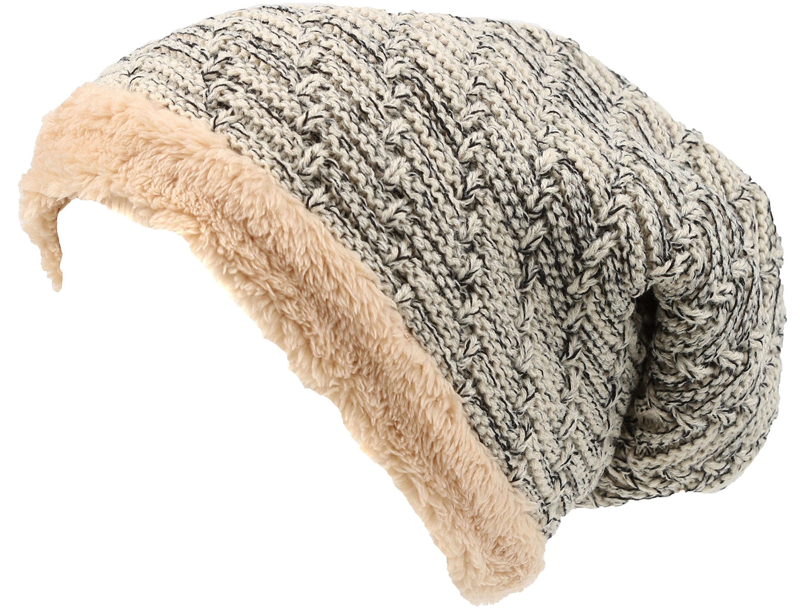 Sakkas 16142 - Veloce Tall Long Heathered Faux Fur Shearling Lined Unisex Beanie Hat - Cream - OS