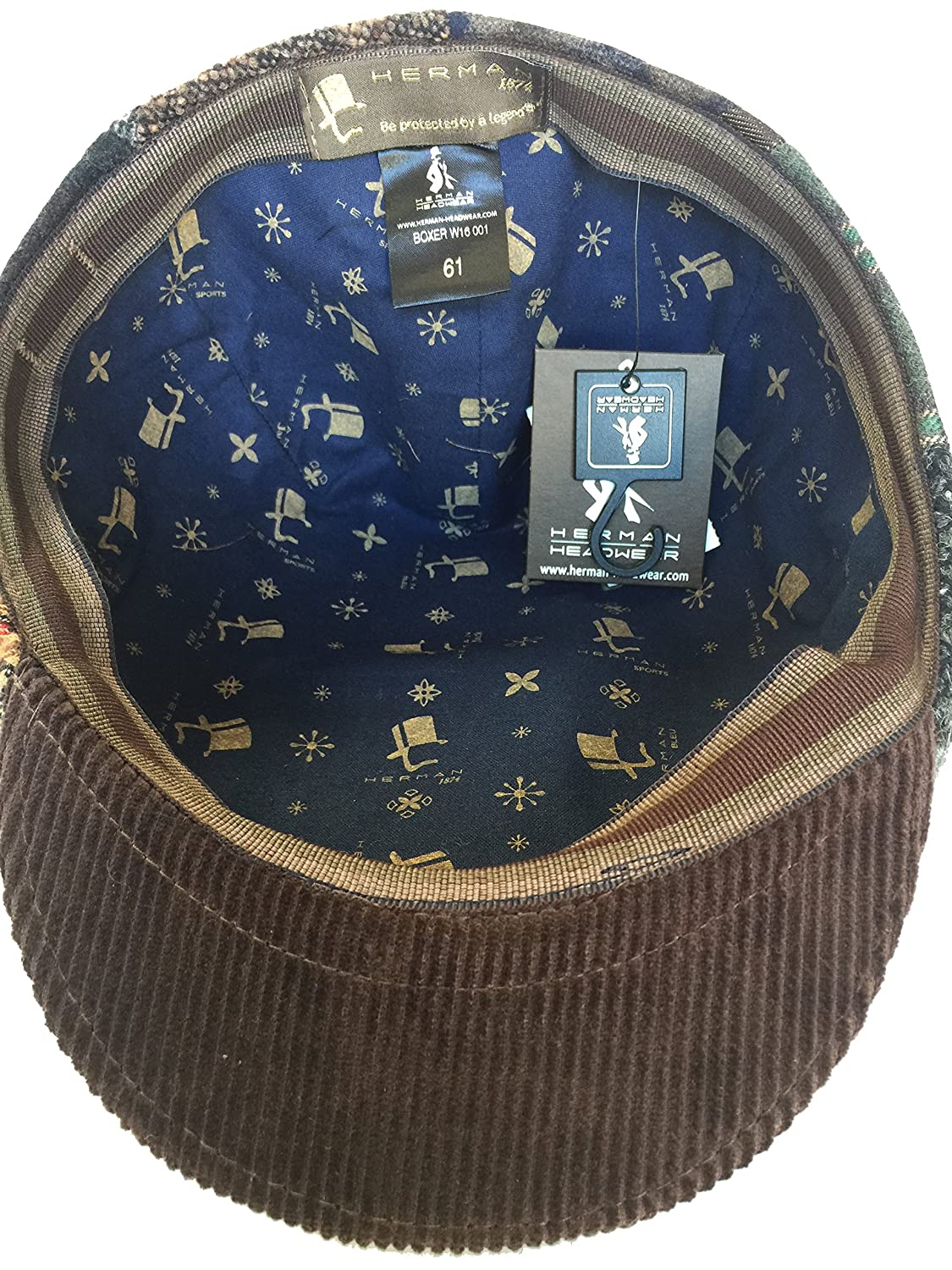 Herman Boxer Made in Italy Wool Patchwork Ivy Cap Molded Driver Hat Newsboy