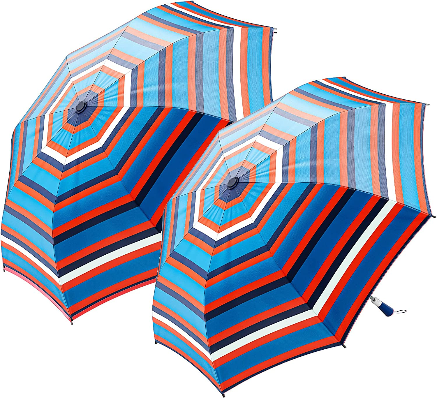 """2-Pack Nautica 2-Person Auto Open Umbrella - Sturdy Rainy Day Protection with Ergonomic Handle, 56"""" of Coverage"""