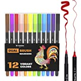 Adult Coloring Markers for Bullet Journal and Brush Calligraphy - Dual Tip Brush Pens - Brush Lettering Markers