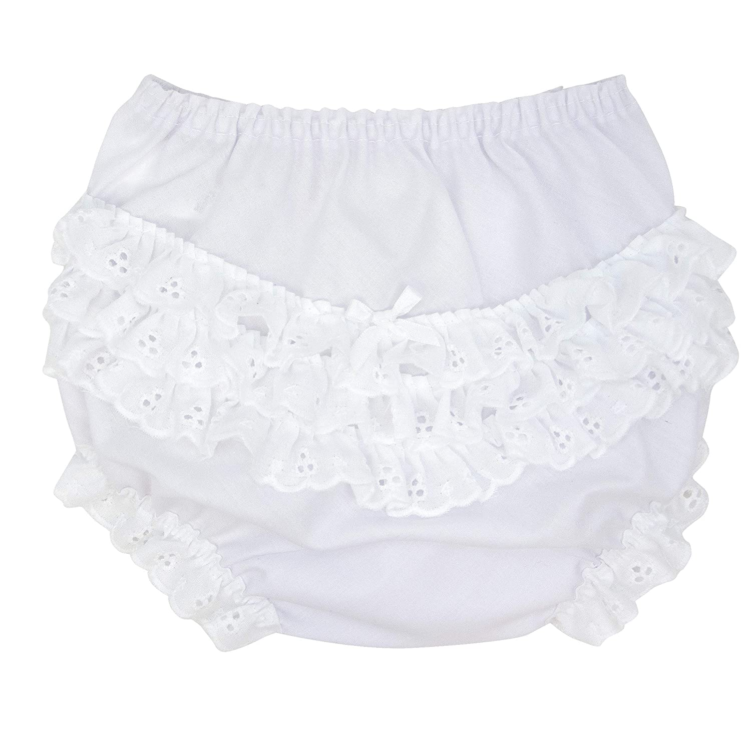 IC Collections Baby Girls White Double Seat Diaper Cover Bloomers