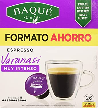 Cafés Baqué 26 Capsulas Compatibles Dolce Gusto Espresso Varanasi 226 g