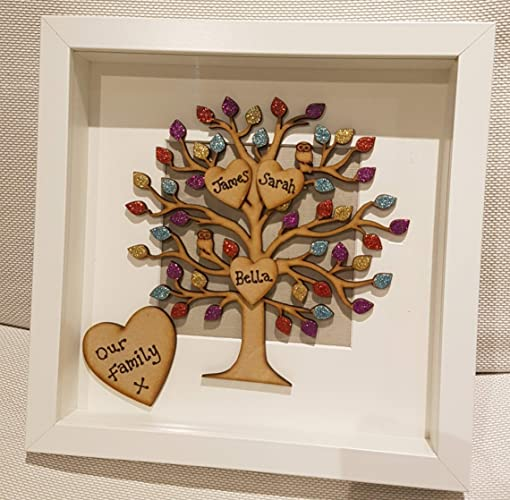Personalised Family Tree Picture Photo Box Frame Gift Anniversary