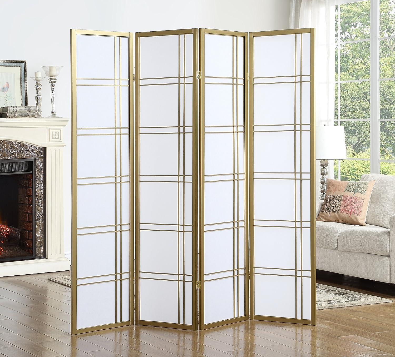 Roundhill Furniture RD042GL Seto 4-Panel 4 Golden Room Divider Screen, Gold RH