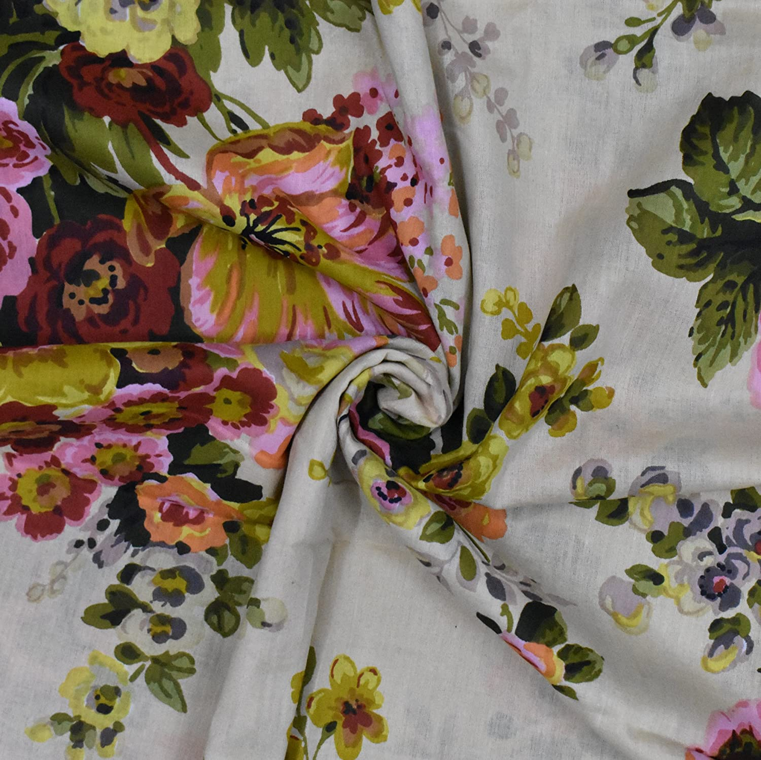 """100/% Cotton Fabric 43"""" Width Floral Print Red Sewing Apparel Dress Drape 1 Yd"""
