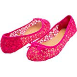 Sara Z Womens Mesh & Lace Openwork Crochet Slip On Ballet Flat with Bow