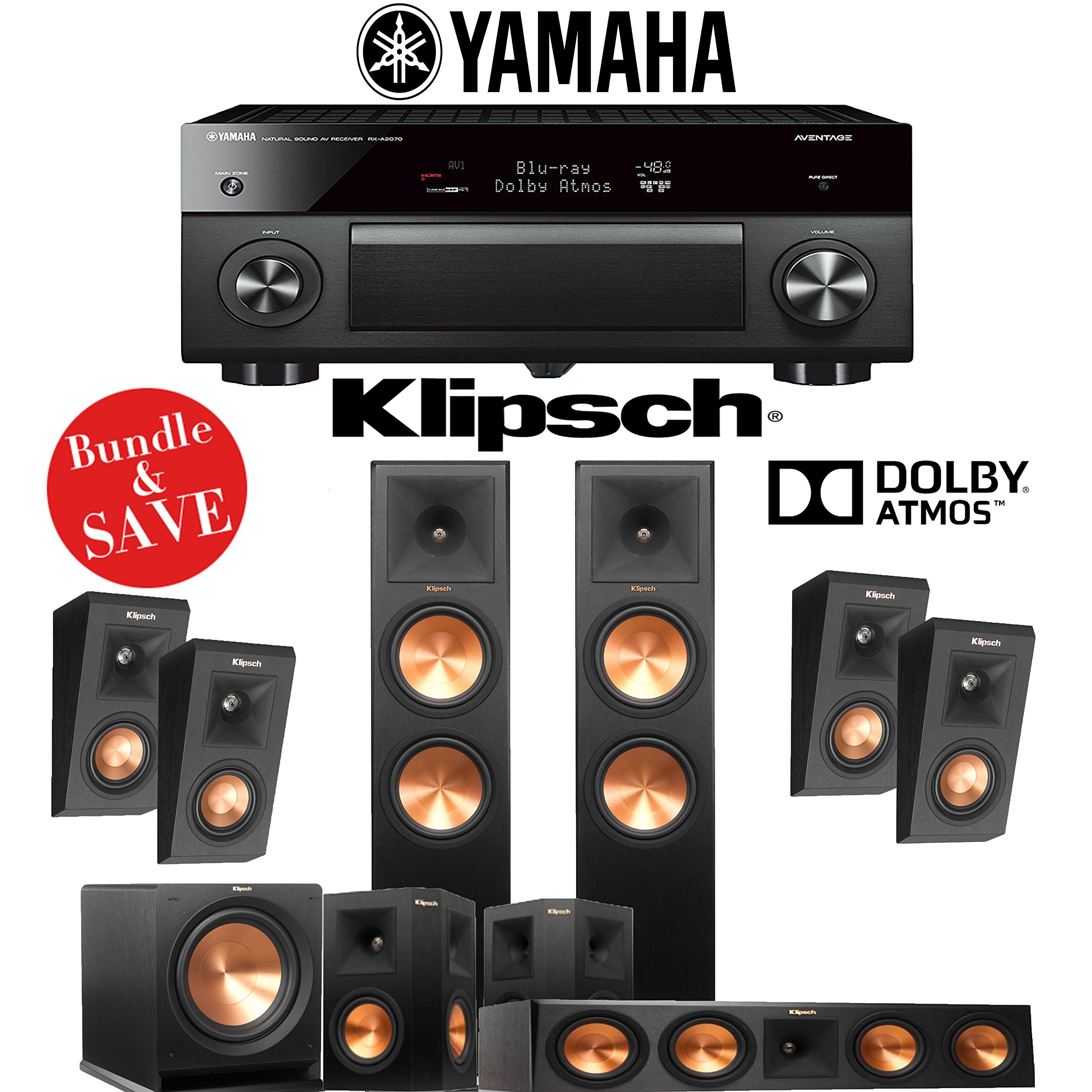 Klipsch RP-280F 5.1.4-Ch Reference Premiere Dolby Atmos Home Theater System with Yamaha AVENTAGE RX-A2070BL 9.2-Channel Network AV Receiver by Klipschhh