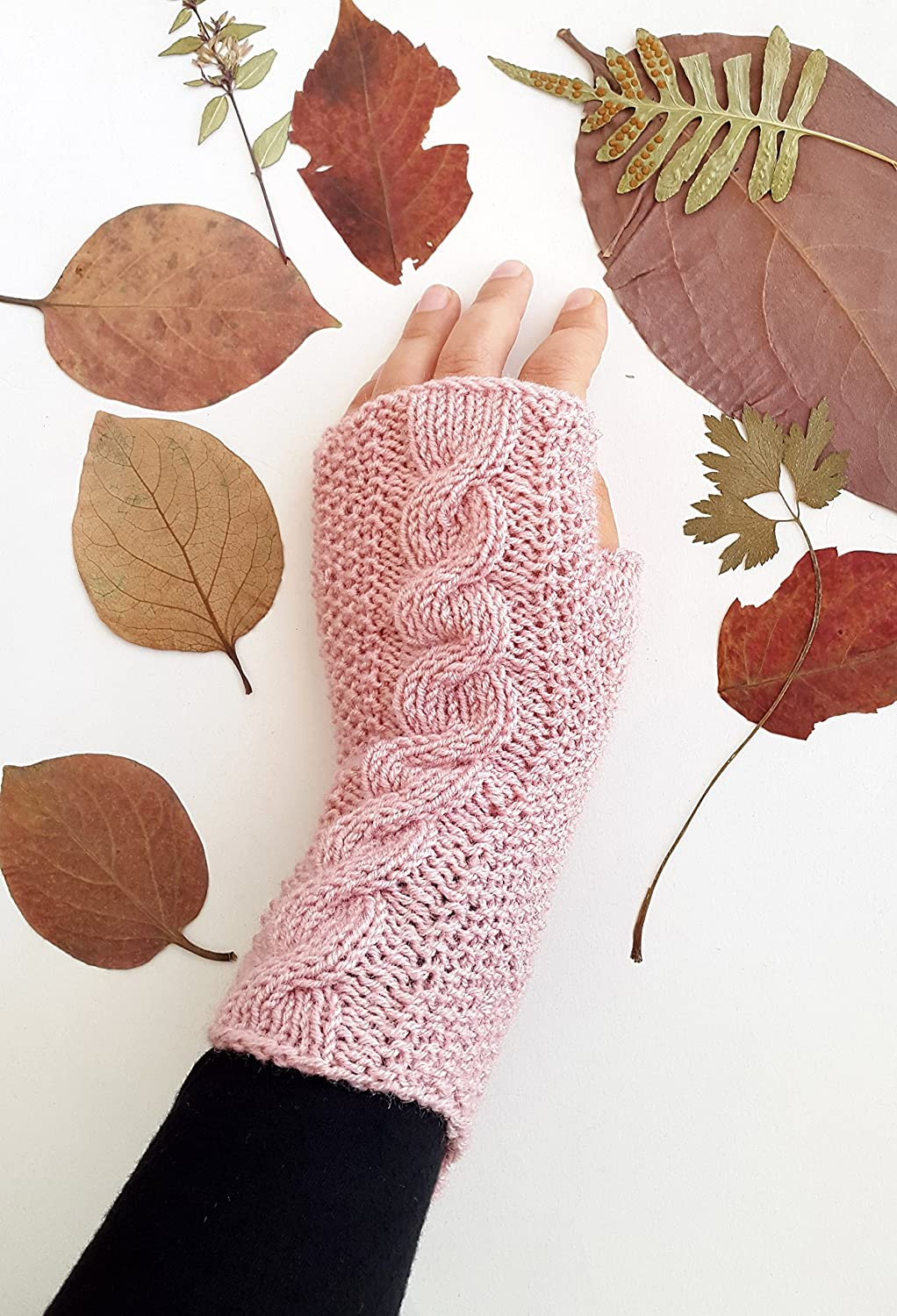 Pink cable knit gloves - Pink gloves Fingerless gloves Womens gloves Knit wrist warmer Gift for girlfriend