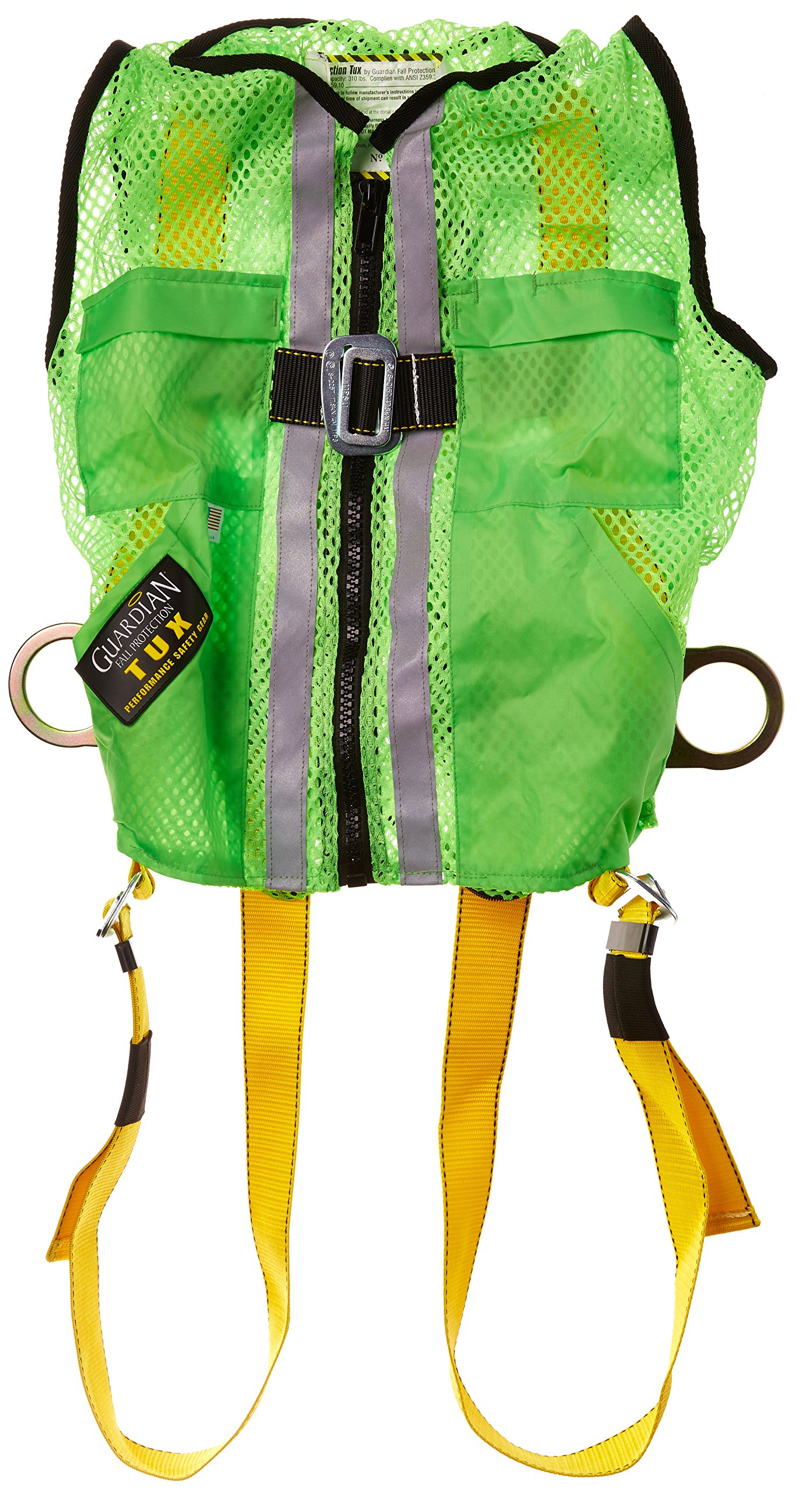 Guardian Fall Protection 02200 Green Mesh Construction Tux Harness, Small