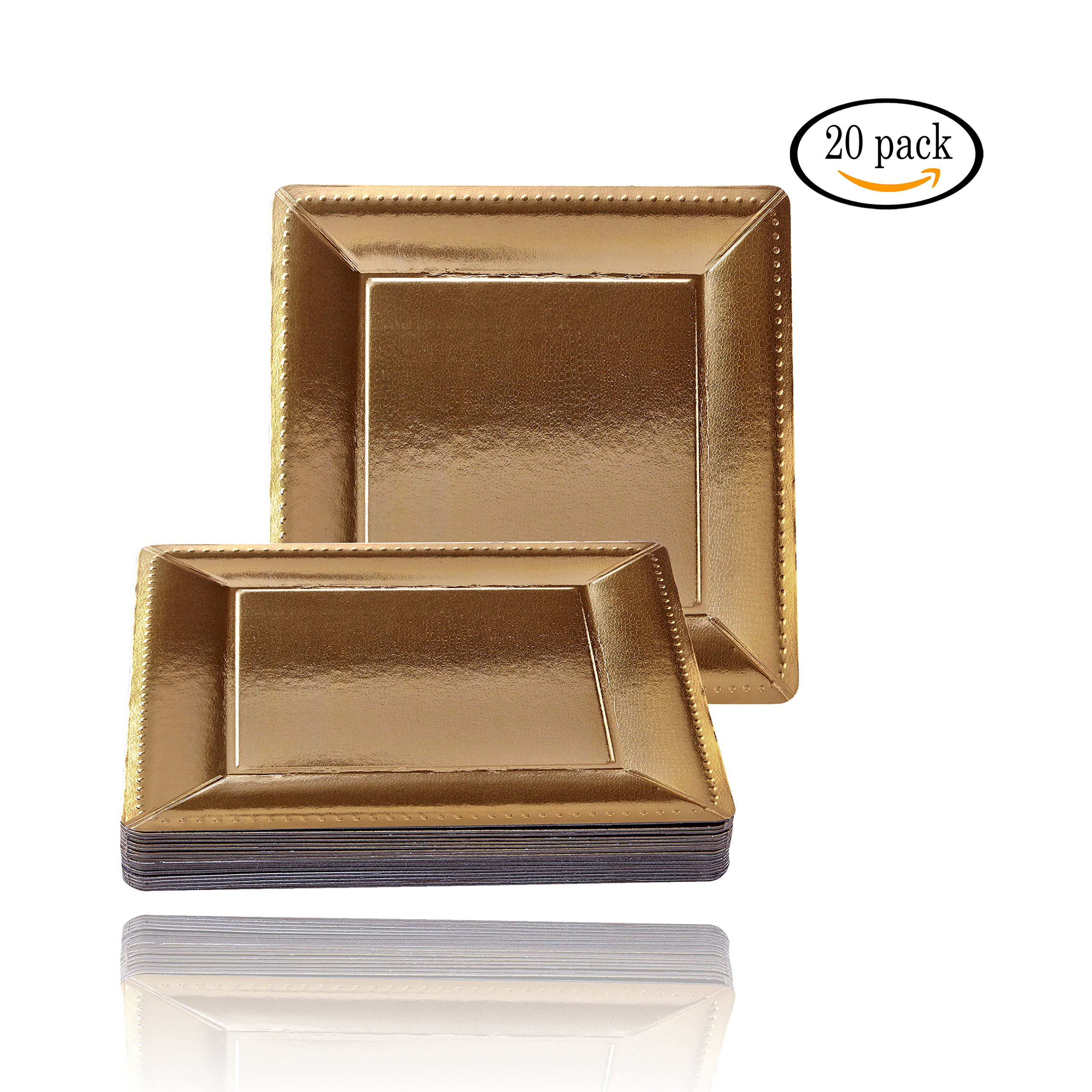 DISPOSABLE SQUARE CHARGER PLATES - 20pc (Metallic/Gold)