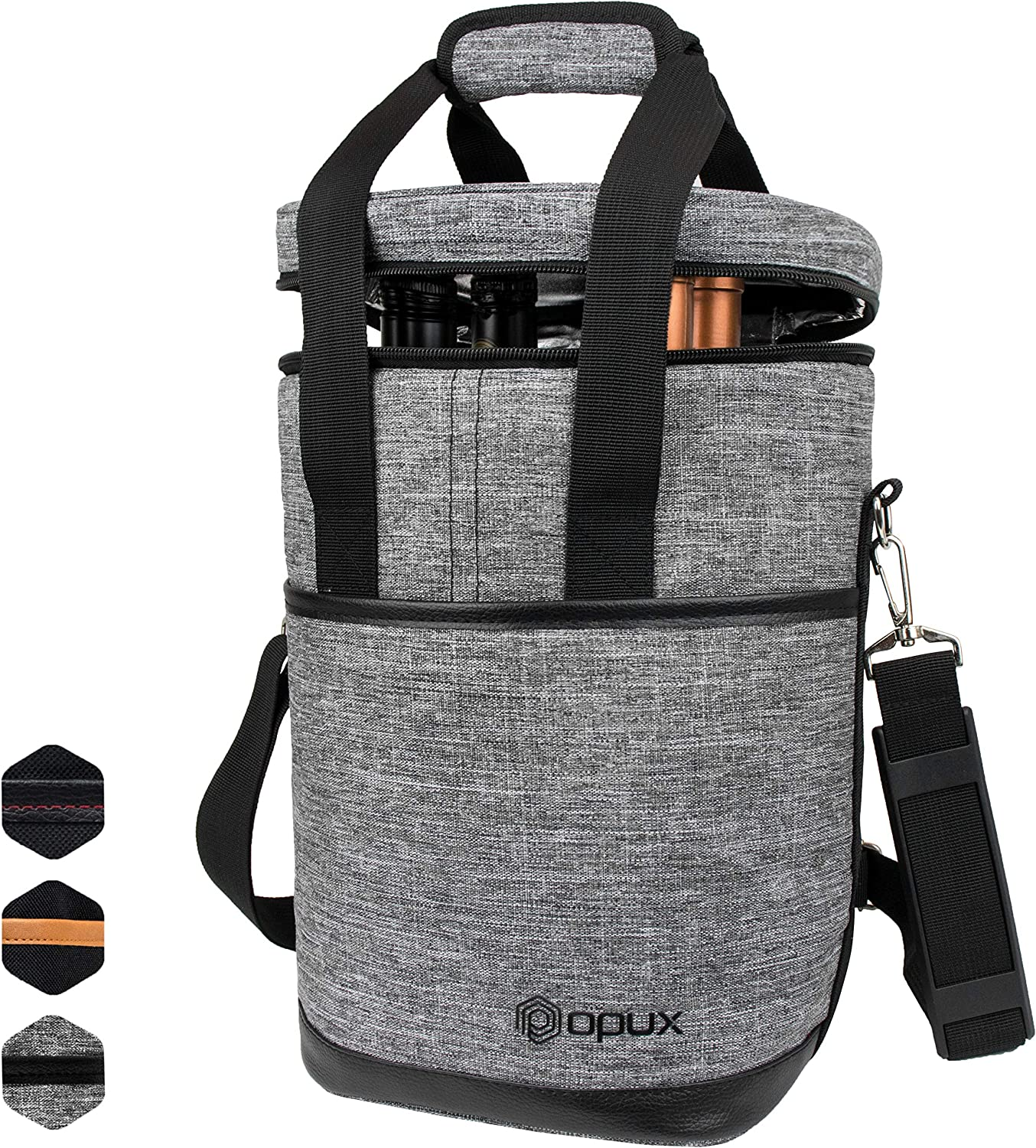 OPUX 4 Bottle Wine Cooler Bag | Wine Bottle Carrier for Travel | Wine Tote with Adjustable Shoulder Strap and Padded Protection (Heather Gray)