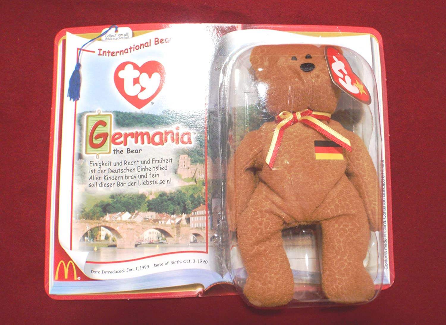 TY McDonald/'s Germania the Bear Beanie Baby 2000 New in Box FREE FAST SHIPPING