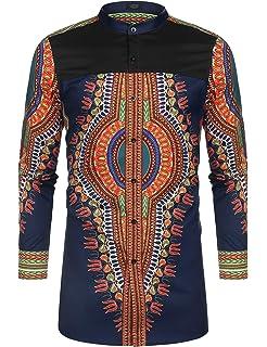 4f24059e2e COOFANDY Men's African Dashiki Print Shirt Long Sleeve Button Down Shirt  Bright Color Tribal Top Shirt