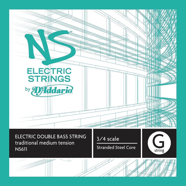 D'Addario NS Electric Traditional Bass Single G String, 3/4 Scale, Medium Tension D'Addario &Co. Inc NS611