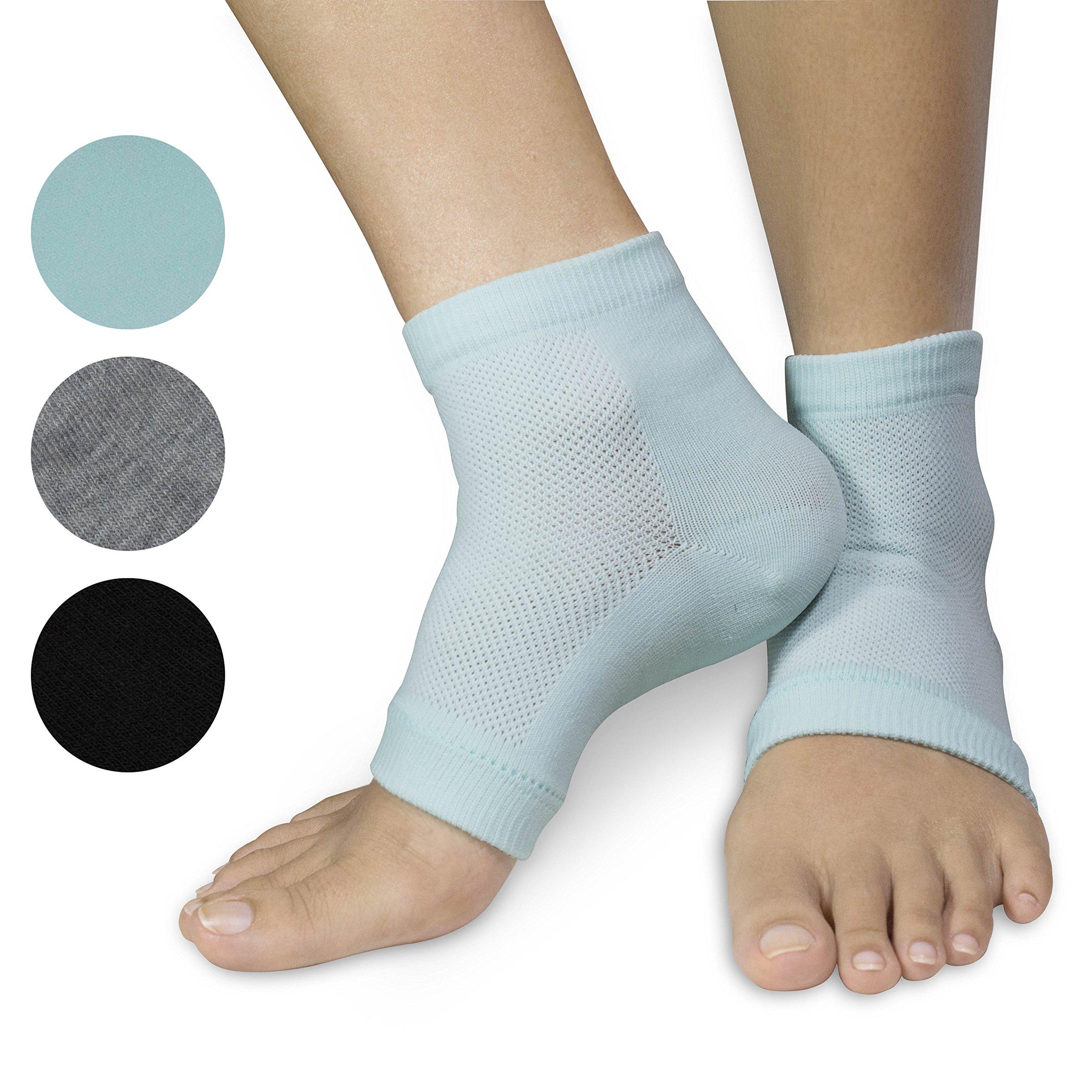 3 PAIRS-Moisturizing Gel Heel Socks w/ Enriched Vitamins for Dry Hard Cracked Heels & DIY Simple Home Remedies by Triim Fitness by Triim Fitness (Image #3)