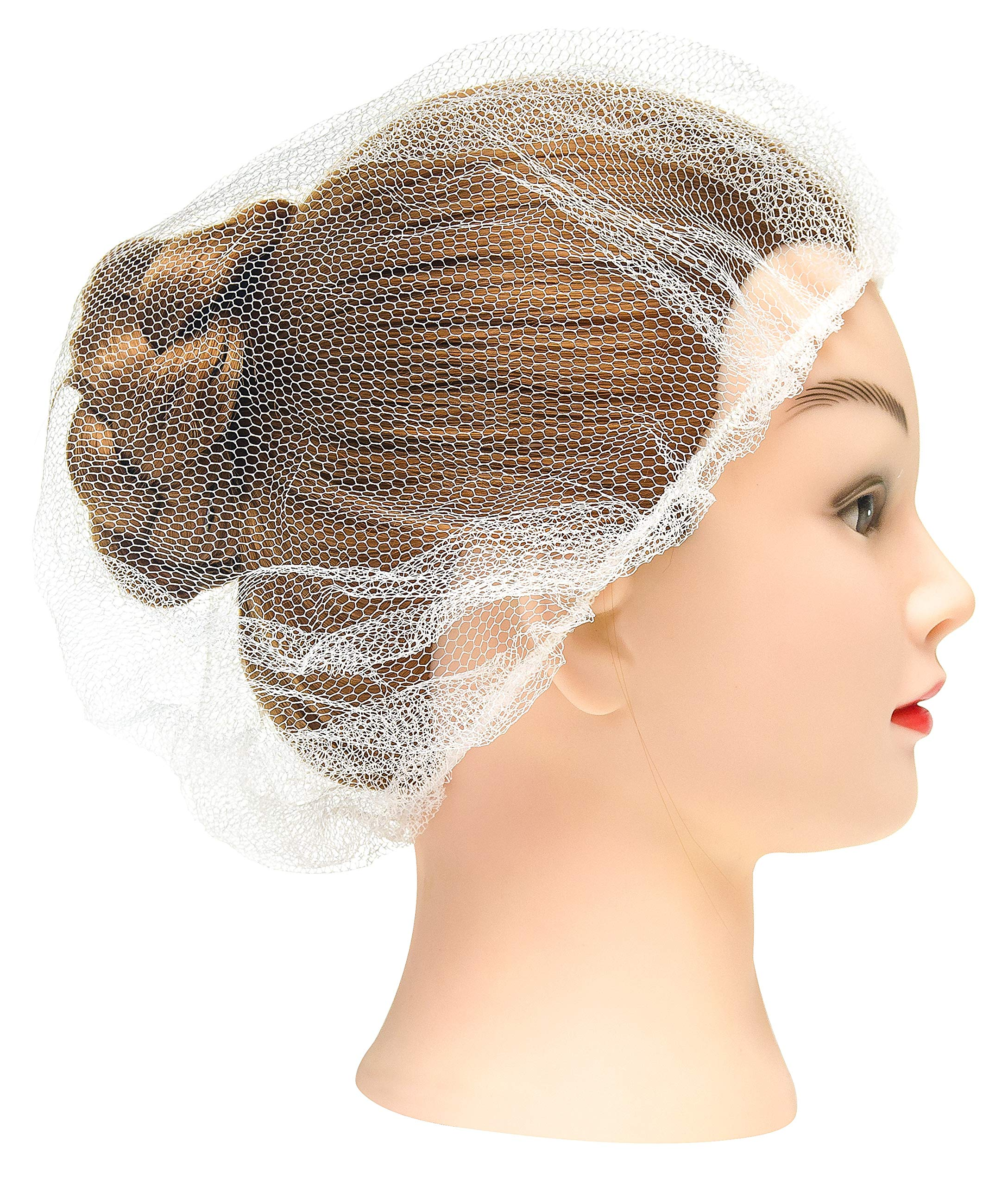 """100 Pack White Nylon Hairnets 24"""" Size. Disposable white hairnets. Protective Hair Nets with Elastic Edge Mesh. Stretchable Hairnet Caps for Non-Medical Use. Lightweight, Breathable. Wholesale price."""