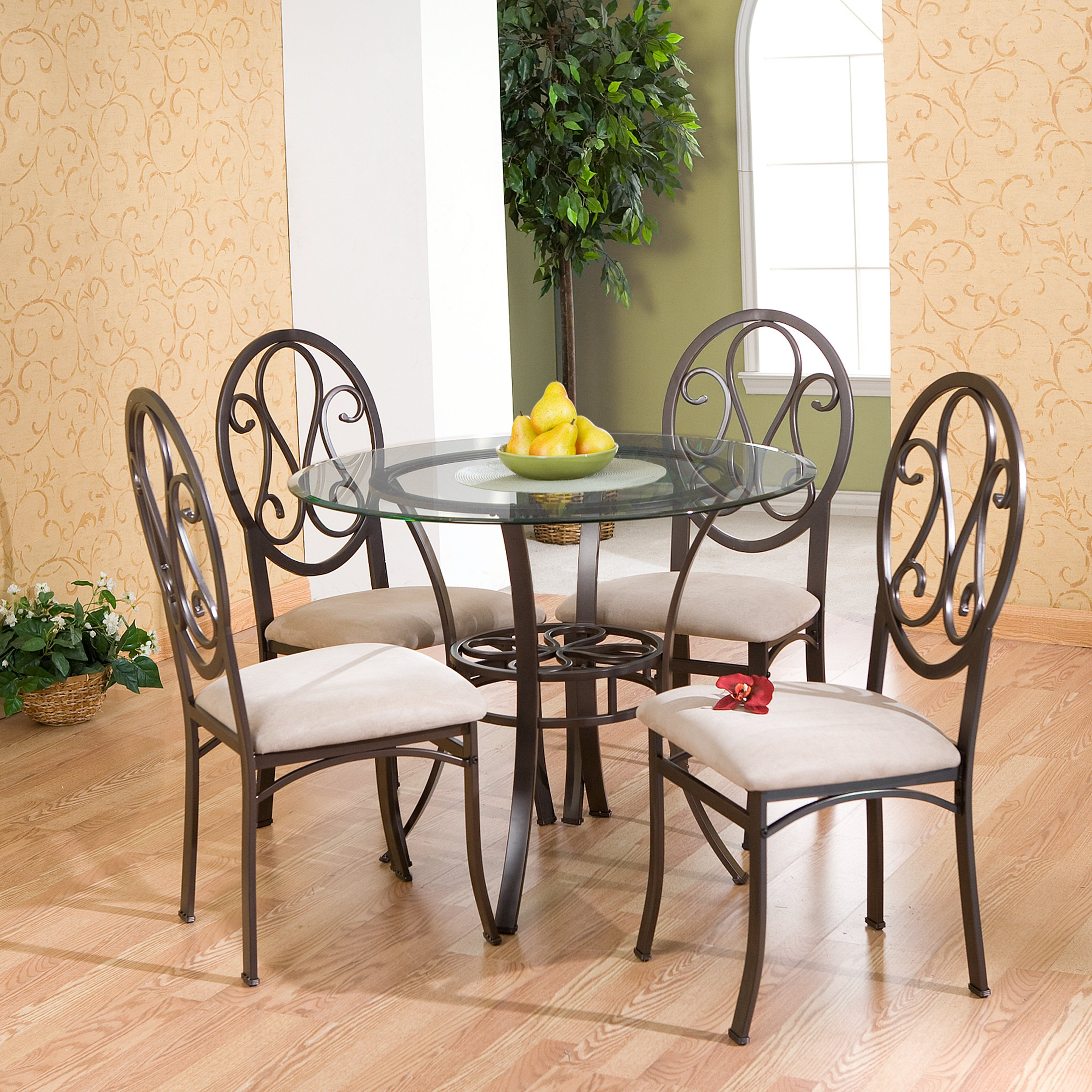 Southern Enterprises Lucianna Glass Top Dining Table, Dark Brown Finish by Southern Enterprises (Image #6)