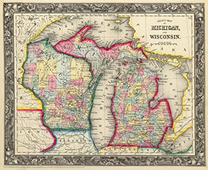 Amazon world atlas 1860 county map of michigan and wisconsin world atlas 1860 county map of michigan and wisconsin historic antique vintage gumiabroncs Gallery