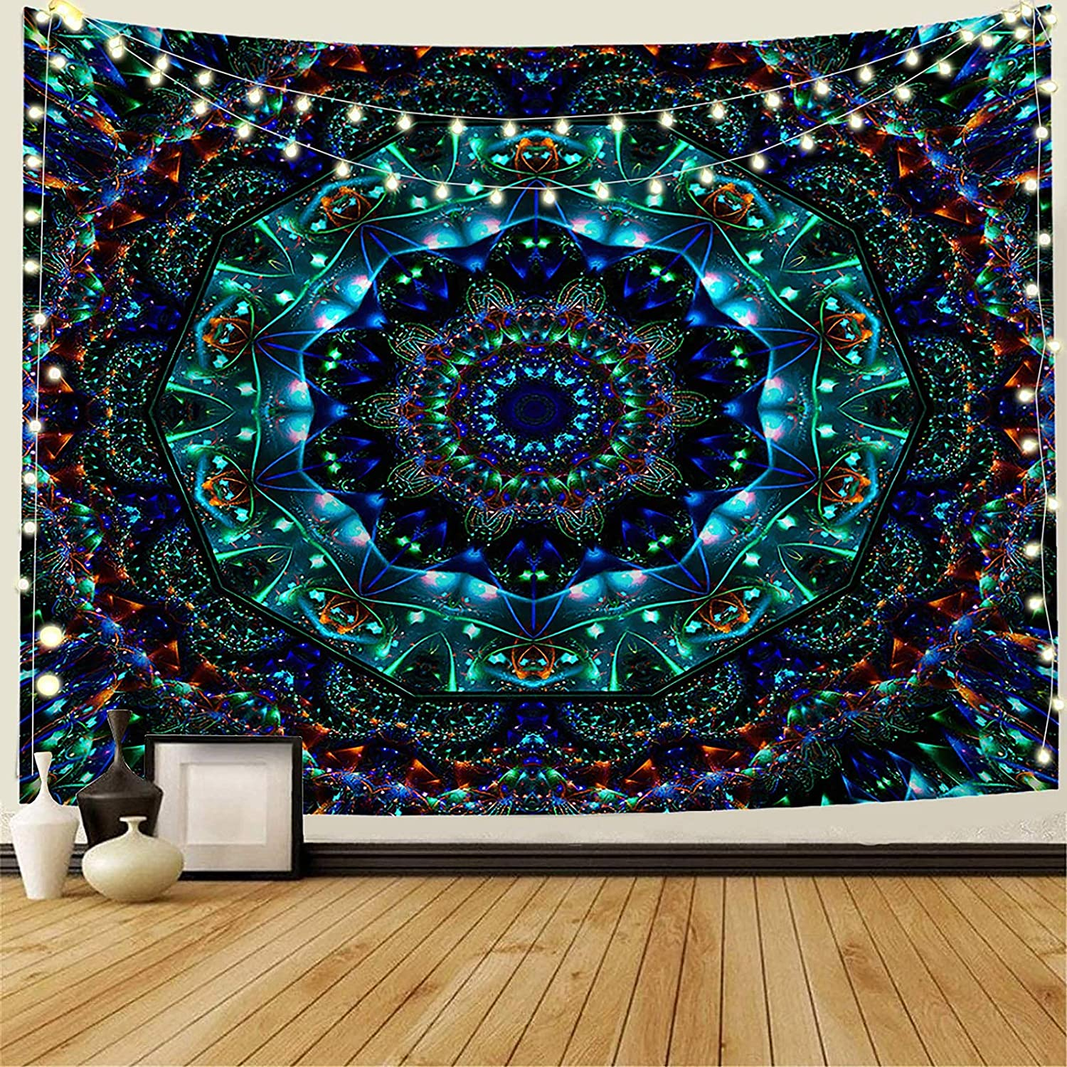 "INTHouse Trippy Mandala Tapestry Wall Hanging Hippie Bohemian Tapestry Emerald Tapestry Indian Room Decor for Bedroom Dorm Room Living Room (59""x78"")"