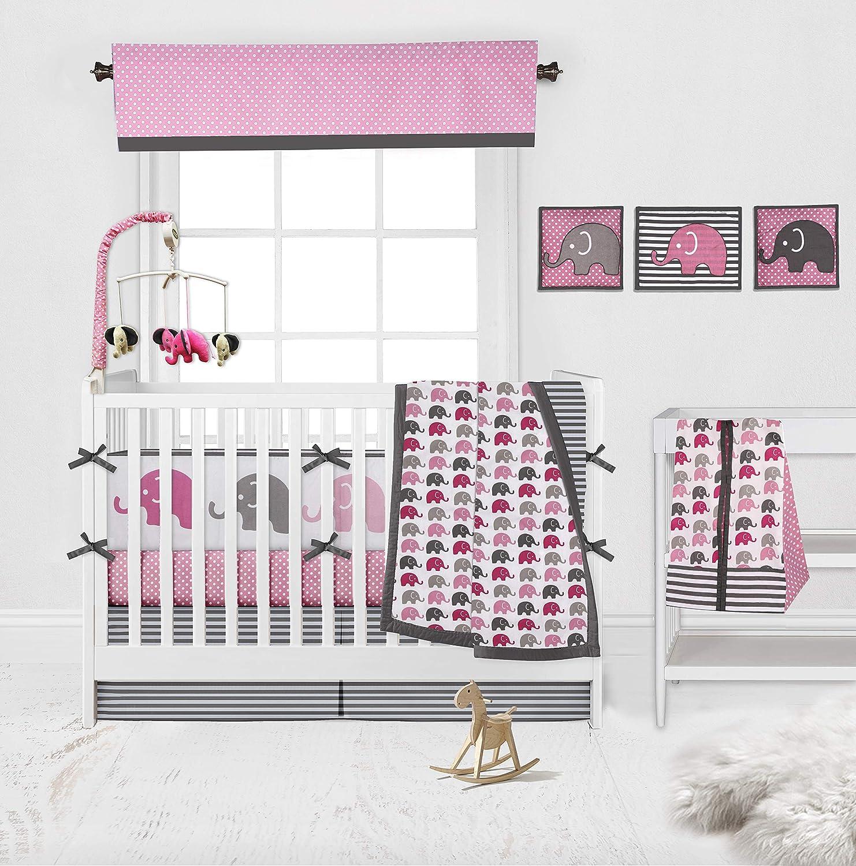 Bacati - Elephants Pink/Grey 10-Piece Nursery in a Bag Girls Baby Nursery Crib Bedding Set with Bumper Pad : Baby