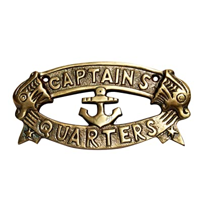 "MAH Antique Style Aluminum Nautical Cast Aluminum Decoration Captain's Quarters Sign Metal Wall Plaque, 8"".C-3099: Home & Kitchen"