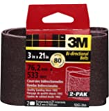3M 9265NA Heavy Duty Power Sanding Belts - Medium 80g, 3-Inch by 21-Inch 2-pack