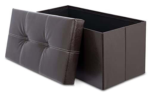Internet s Best Faux Leather Folding Storage Ottoman Bench with Buttons – Strong and Sturdy – Quick and Easy Assembly – Foot Stool – Dark Brown