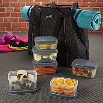 Fit & Fresh JAXX Black Quilted Meal Prep Bag